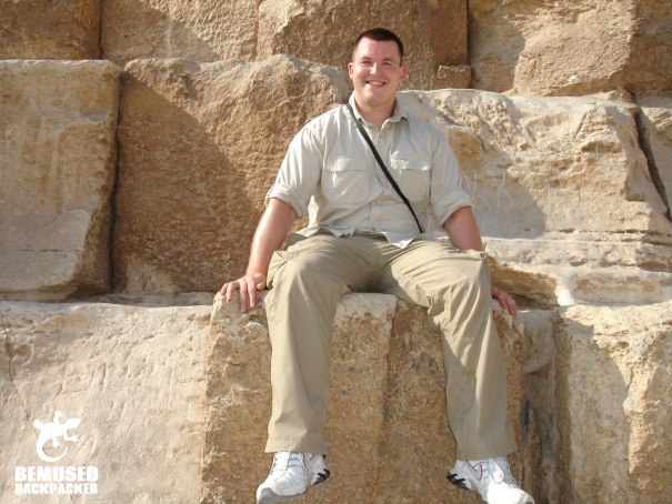 Michael Huxley sitting on the great pyramid of Giza