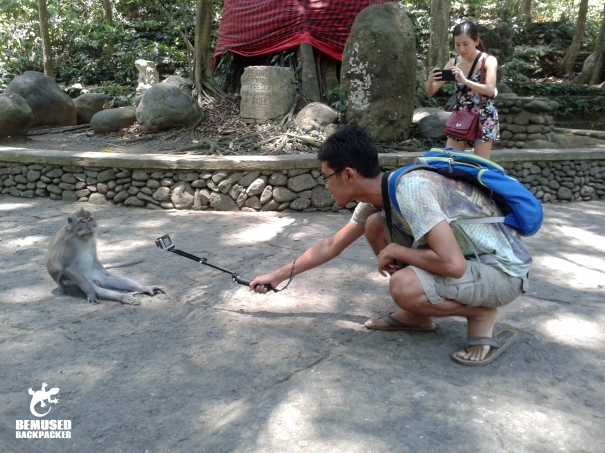 tourist using a go pro and selfie stick in the Monkey Forest, Bali
