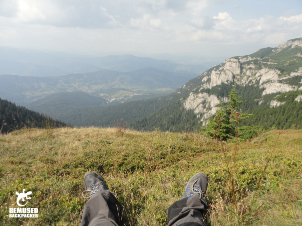 Mountain climbing at Ceahlau National Park in the Carpathian mountain range