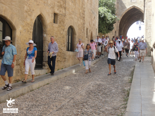 Mass tour groups in the old town, Rhodes, Greece