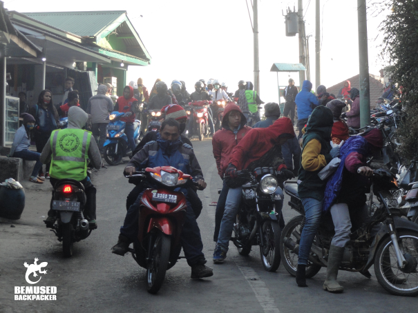 Mass tourism crowds for the sunrise tour at Mount Bromo Indonesia