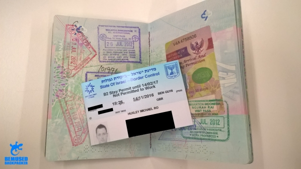 Passport stamp Israel Airport Ben Gurion Jerusalem