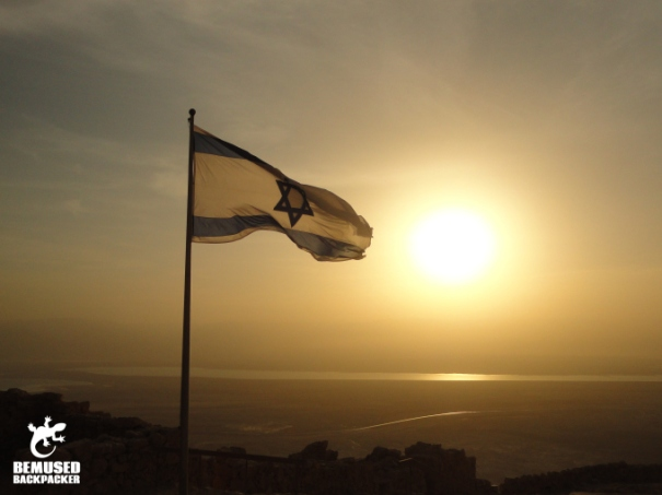 Israeli flag Masada sunrise tour Dead Sea Israel