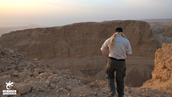 Michael Huxley hiking through the desert in Masada National Park Dead Sea Israel