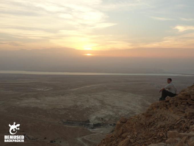Michael Huxley Masada Sunrise Tour clifftop view over the Dead Sea Israel