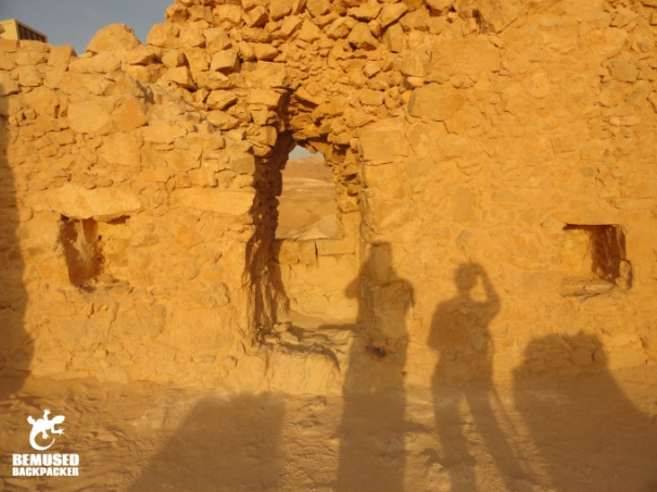 Shadow in the ruins at Masada National Park Dead Sea Israel