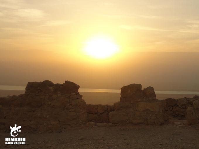 Sunrise over ruins at Masada National Park Dead Sea Israel