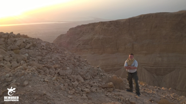 Michael Huxley hiking in the desert Israel Masada National Park