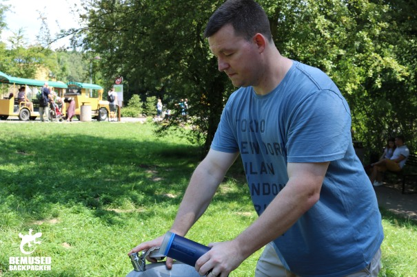 Refiling GRAYL water bottle at Ostrava Zoo