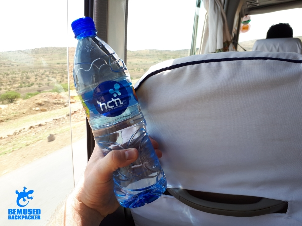 Water bottle on long distance journey