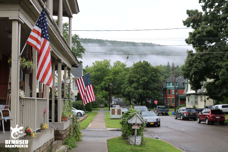 Finger Lakes New York flags on houses