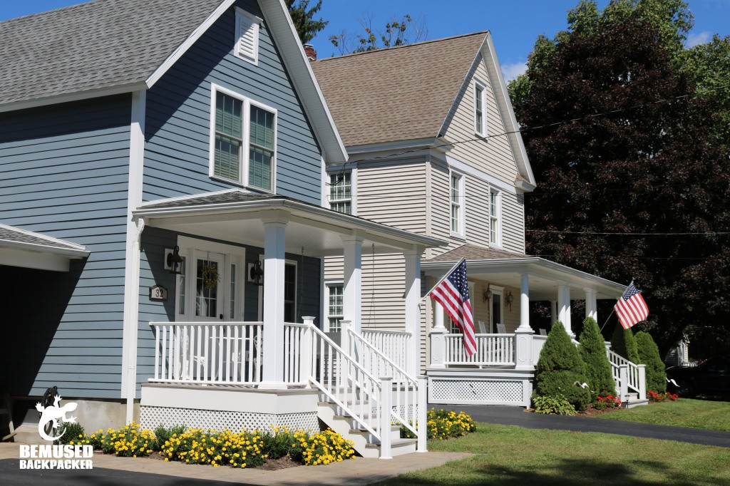 American flags on houses at Finger Lakes New York