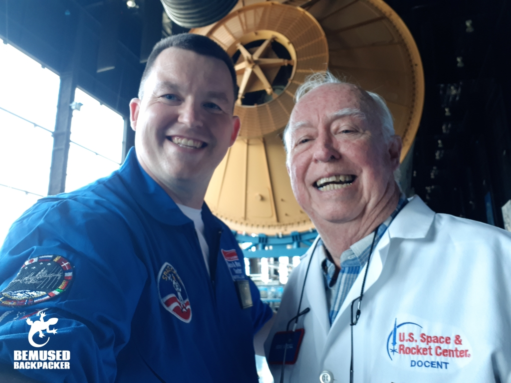 Michael Huxley and NASA Docent Kenny Mitchell at US Space and Rocket Center Huntsville