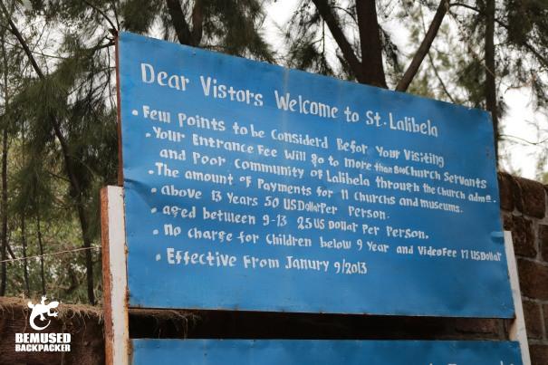 entrance sign rock hewn churches of lalibela ethiopia
