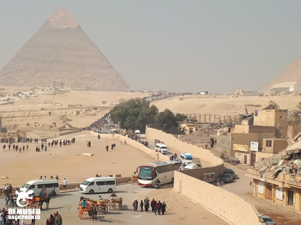 Busy road and construction at Pyramids of Giza Egypt
