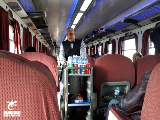 Cairo to Alexandria Egypt train 1st class carraige