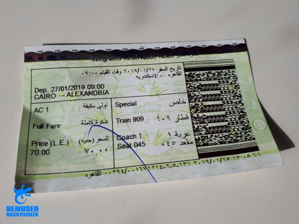 Cairo to Alexandria Egypt train ticket