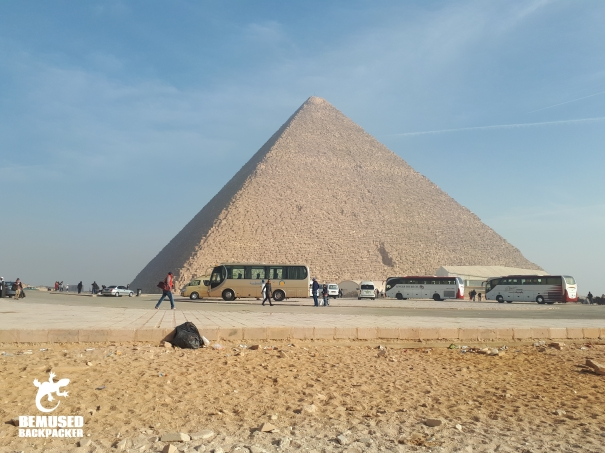 Car park in front of the Giza Pyramids Egypt