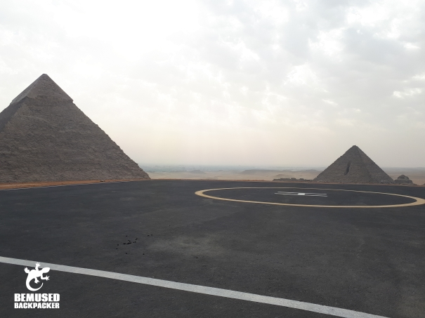 Helipad at Giza Pyramids Egypt