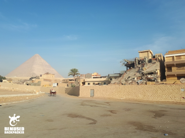 illegal building at the Giza plateau Egypt