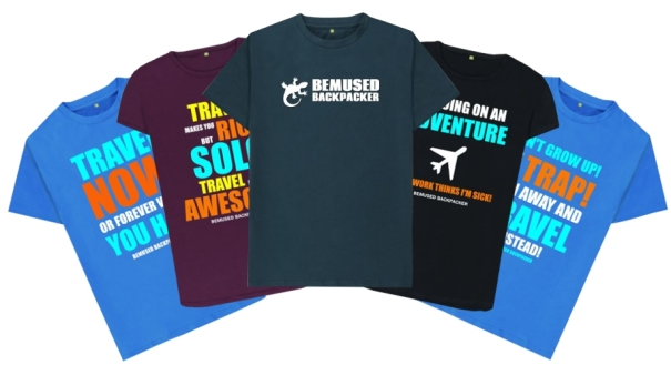 Bemused Backpacker T Shirt clothing range