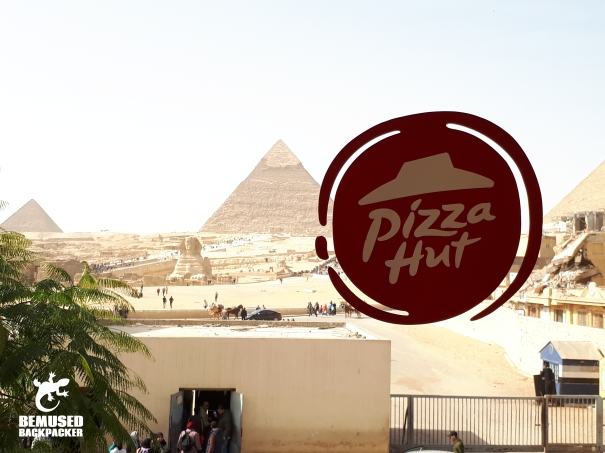 Egypt Pizza Hut in front of the Sphinx