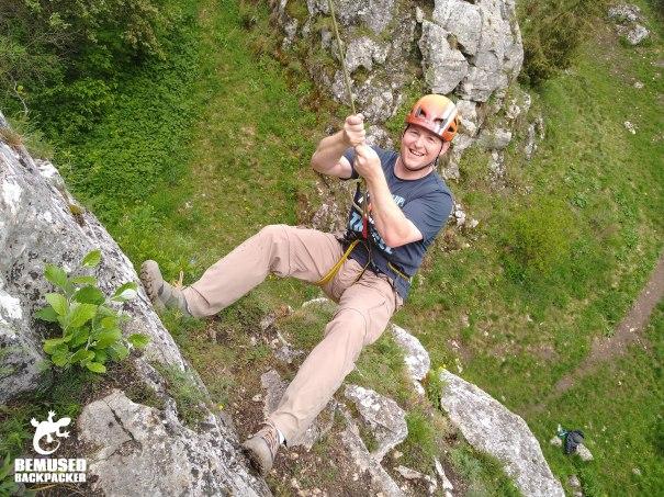 Michael Huxley rock climbing Slovakia