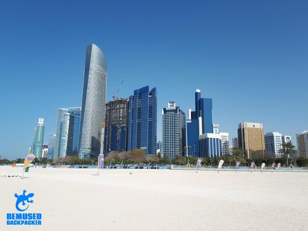 Skyline of Abu Dhabi from the Corniche beach